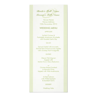 Green Cream Tulip Wedding Menu Card