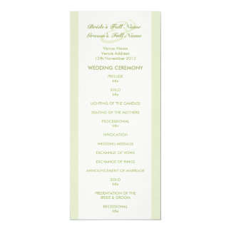 Green Cream Tulip Wedding Program Card