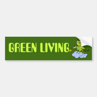Green Creature and Butterfly Bumper Sticker
