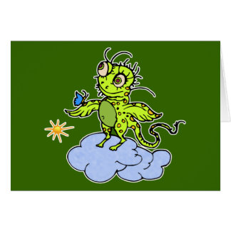 Green Creature and Butterfly Card