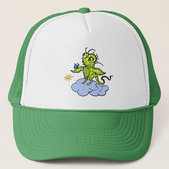 Green Creature and Butterfly Trucker Hat