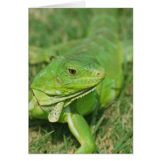 Green Creeping Lizard Greeting Card