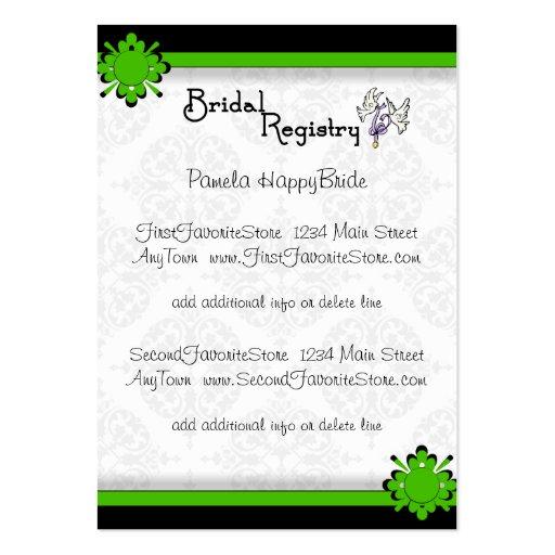 Wedding Registry Card Template Free : Green Crest Damask Bridal Registry Cards Large Business Cards (Pack Of ...