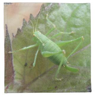 Green Cricket on a Leaf Napkin