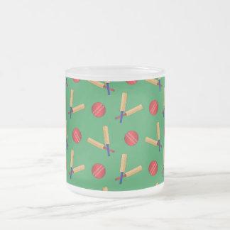 green cricket pattern 10 oz frosted glass coffee mug