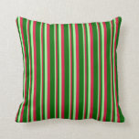 [ Thumbnail: Green, Crimson, and Dark Green Colored Lines Throw Pillow ]