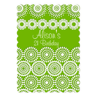 Green crochet lace flowers Birthday Invitation