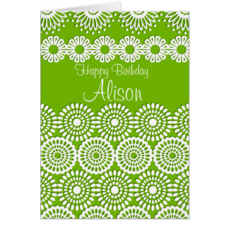 Green crochet lace girly vintage flowers  Birthday Card
