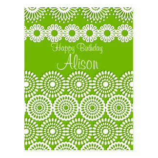 Green crochet lace girly vintage flowers  Birthday Postcard