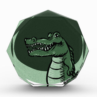 green crocodile acrylic award