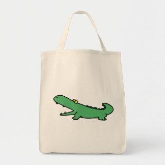 Green crocodile canvas bag