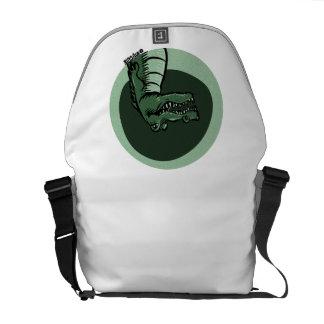 green crocodile messenger bag