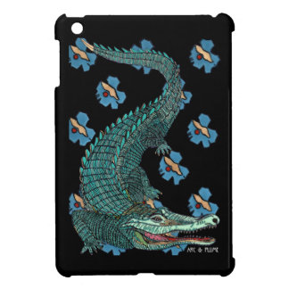 Green Crocodile with blue and gold Art Deco flower Case For The iPad Mini