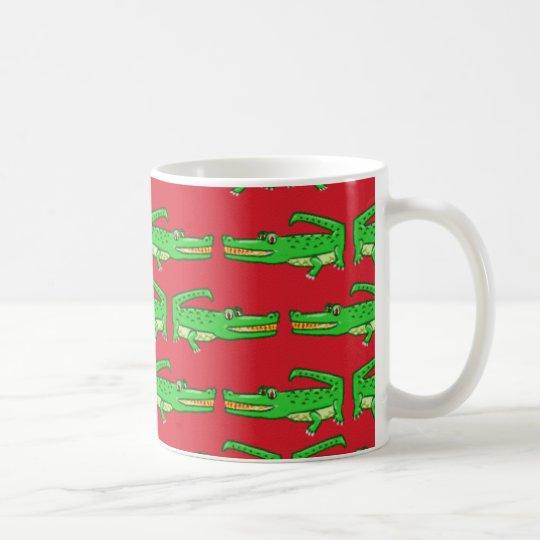Green Crocodiles On Red Coffee Mug