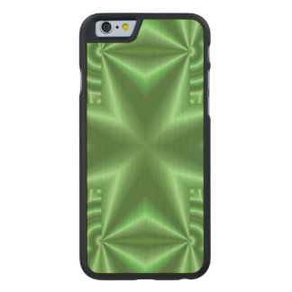 Green cross abstract pattern carved maple iPhone 6 case