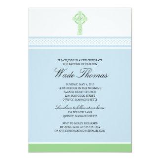 Green Cross Baptism Christening 5x7 Paper Invitation Card
