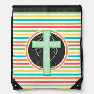 Green Cross; Bright Rainbow Stripes Drawstring Bag