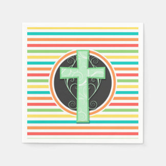 Green Cross; Bright Rainbow Stripes Napkin