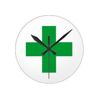 green cross medicine health pharmacy doctor clock