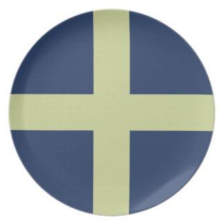 Green Cross on Blue Melamine Plate