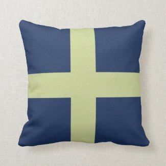 Green Cross on Blue Throw Pillow