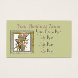 Green Cross With  Flowers Business Card