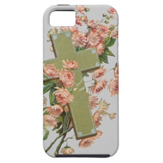 Green Cross With Pink Flowers Case For The iPhone 5