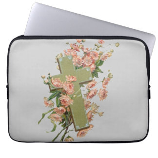Green Cross With Pink Flowers Computer Sleeve