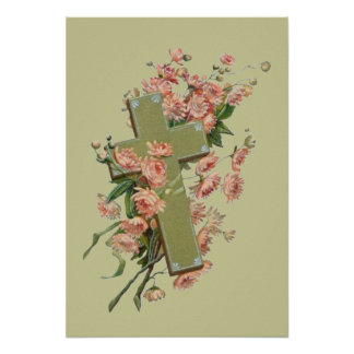 Green Cross With Pink Flowers Posters