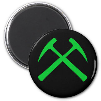 Green Crossed Rock Hammers Magnet