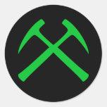Green Crossed Rock Hammers Sticker
