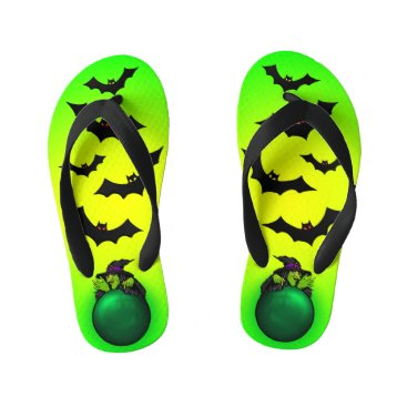 Halloween Themed Green Crystal Ball Witch and Bats Kid's Flip Flops