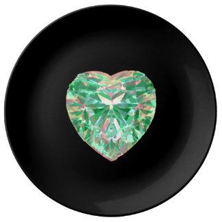 Green Crystal Heart Plate
