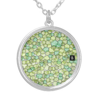 green crystal silver plated necklace