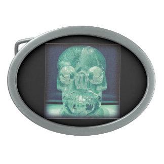 Green crystal skull belt buckle