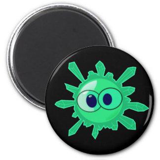 Green Crystal Smiley Face Black Magnet