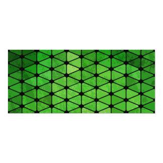 Green Cubic Grid Pattern 4x9.25 Paper Invitation Card