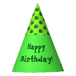 Green Cupcake Happy Birthday Party Hat