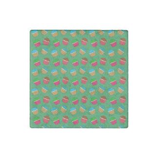 Green cupcake pattern stone magnet