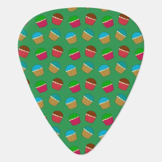 Green cupcake pattern guitar pick