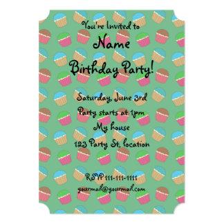 Green cupcake pattern 5x7 paper invitation card