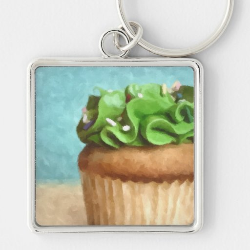 Green Cupcake  Photo Painting Key Chain