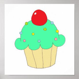 Green Cupcake Poster