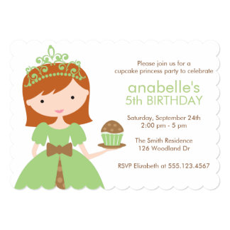 Green Cupcake Princess Birthday Party 5x7 Paper Invitation Card