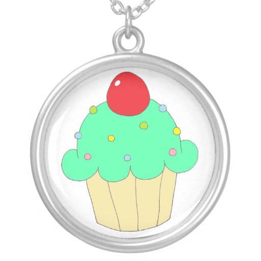Green Cupcake Round Pendant Necklace