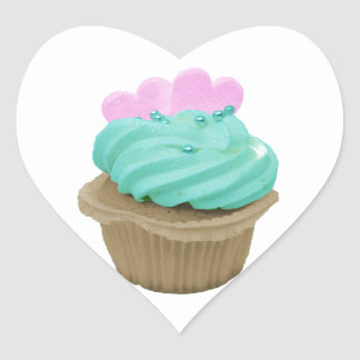 Green Cupcake with Pink Hearts Heart Sticker