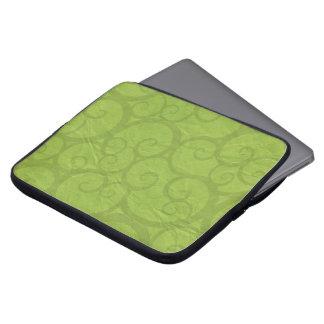 Green curls lines laptop sleeve