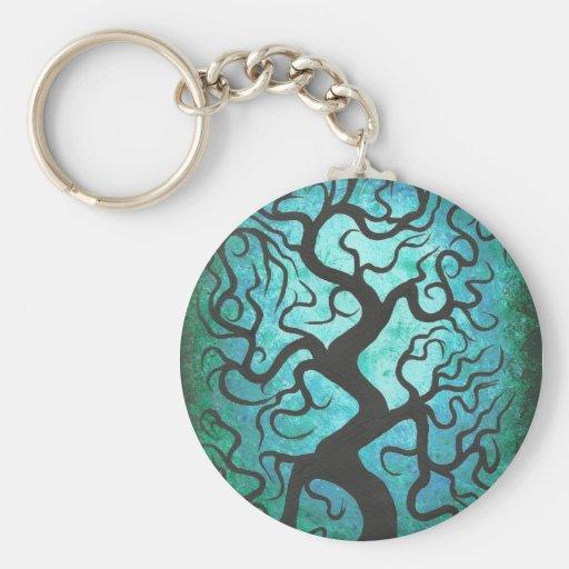 Green curly tree, key chain