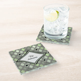 Green Curved Diamond Harlequin Personalized Glass Coaster
