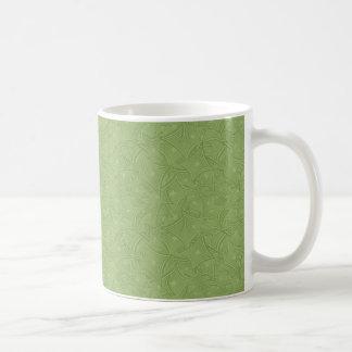 Green curved shape pattern coffee mug